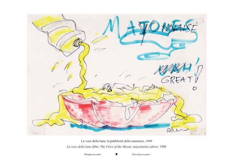2020TIBE_費里尼的美味人生插畫展-電影《月吟》:美乃滋廣告。1989年,紙上塗鴉